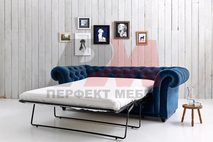 кожена мека мебел честърфийлд стабилна