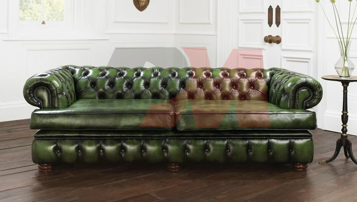 висококласна  кожена мека мебел честърфийлд
