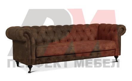 кожена мека мебел честърфийлд първокласна