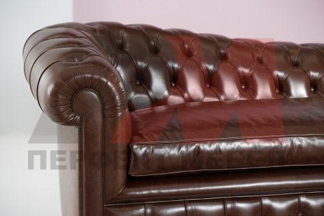 кожена мека мебел честърфийлд солидна
