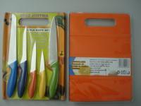 Комплект 5бр ножове с дъска за рязане