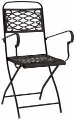 Метален сгъваем стол с подлакътници в цвят антрцит