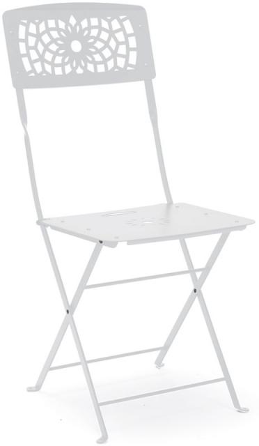 Метален стол бял