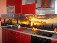 Луксозна права кухня от пдч титан и червено